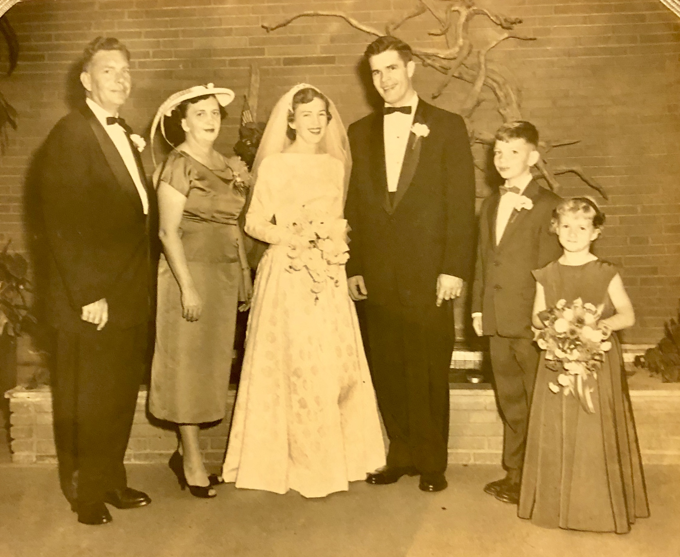 Audrey's family and Leo on their wedding day.