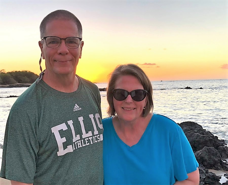 Mark and Catherine at sunset in HI