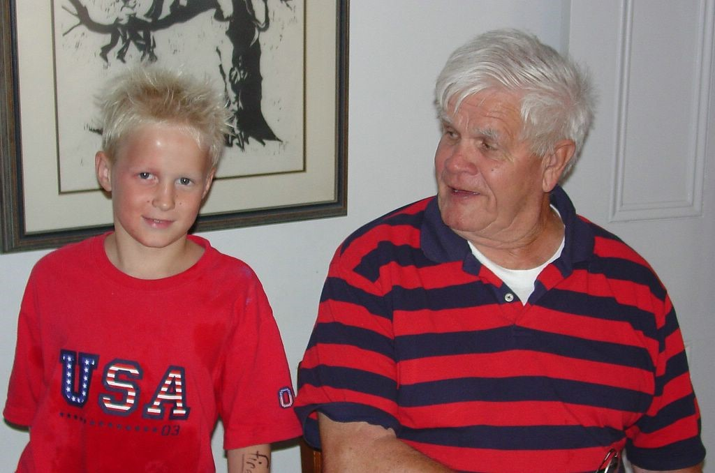 Grant and grandfather, Pop Pop, Leo Rauterkus